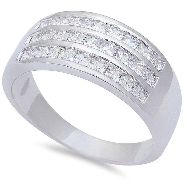 1CT  Men's Princess Cut Cz Hiphop Fashion  .925 Sterling Silver Ring Sizes 7-12