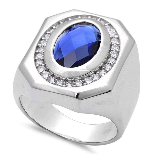 Men's Blue Sapphire .925 Sterling Silver Ring Sizes 7-11