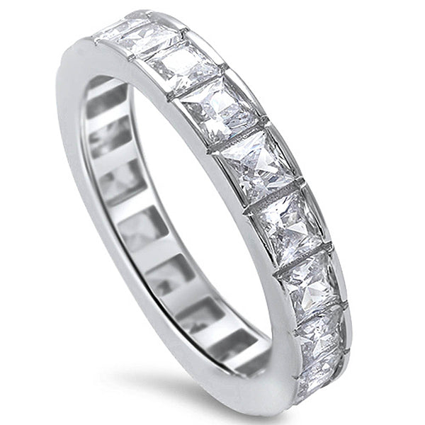 2Ct Princess Cut Cz Eternity Wedding Band .925 Sterling Silver Ring Sizes 4-11