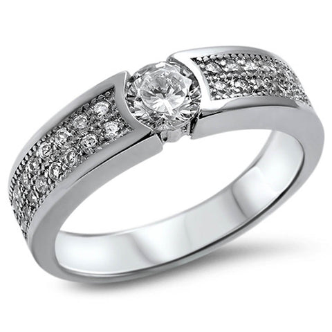 Men's 1.25CT Pave Cz Wedding Band .925 Sterling Silver Ring Sizes 8-12