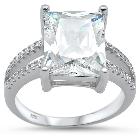 12x10 Radiant Cut Cubic Zirconia Engagement .925 Sterling Silver Ring Sizes 5-10