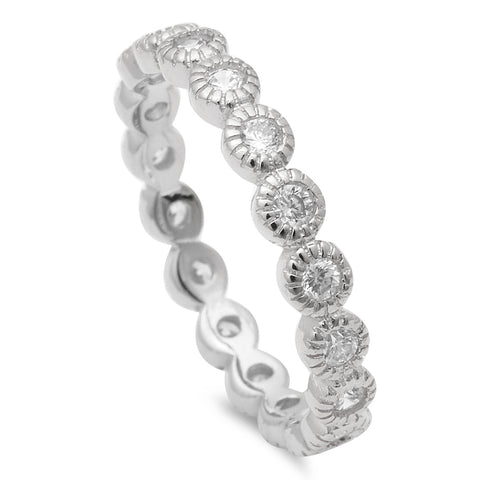 Sterling Silver Bezel Set Stackable Eternity .925 Sterling Silver Ring Sizes 4-10