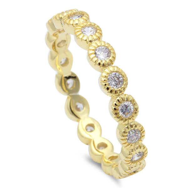 Yellow Gold Plated Silver Stackable Eternity .925 Sterling Silver Ring Sizes 4-10