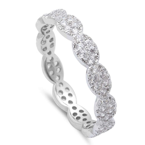 Ladies Micro Pave Cz Eternity Style Band .925 Sterling Silver Ring Sizes 4-11