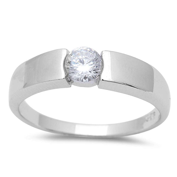 .50CT Men's Round Solitaire Cubic Zirconia Wedding Engagement .925 Sterling Silver Ring Sizes 8-13