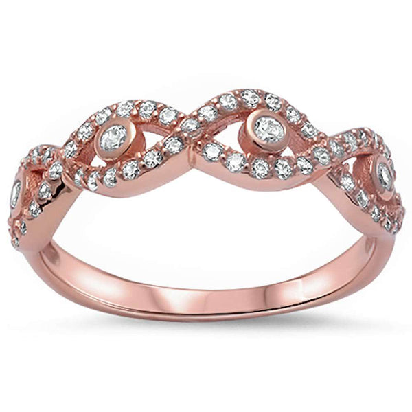 Rose Gold Plated Cz Evil Eye .925 Sterling Silver Ring Sizes 4-10