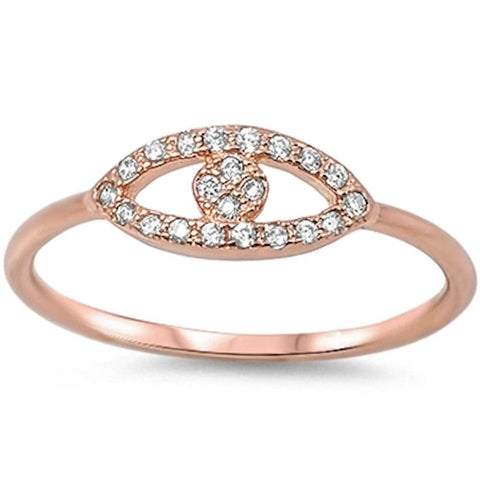 Rose Gold Plated Cz Evil Eye .925 Sterling Silver Ring Sizes 3-11