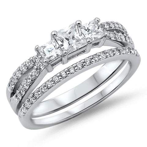 Princess-cut Cubic Zirconia Engagement Set .925 Sterling Silver Sizes 4-12