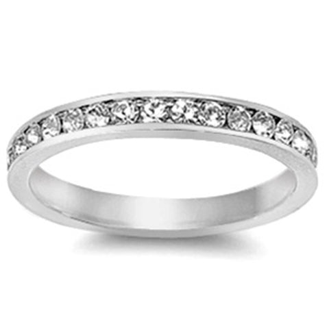 Clear Cubic Zirconia Stackable Eternity Wedding Anniversary Band .925 Sterling Silver 3-12