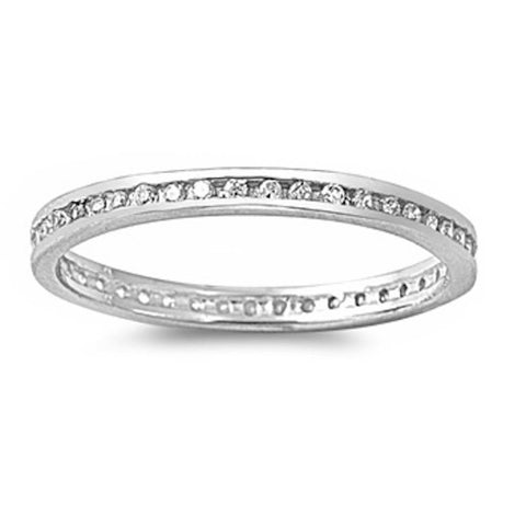 Cz Eternity Band .925 Sterling Silver Ring Sizes 2-10