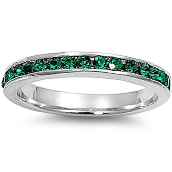 Emerald Stackable Eternity Wedding Anniversary Band .925 Sterling Silver Ring Sizes 3-12