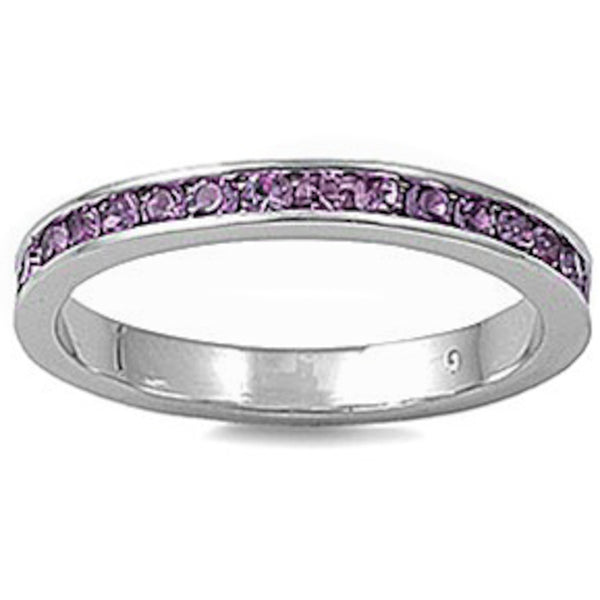 Light Amethyst Stackable Eternity Wedding Anniversary Band .925 Sterling Silver Ring Sizes 3-12