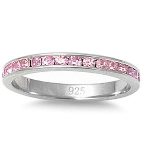 Pink Cz Stackable Eternity Wedding Anniversary Band .925 Sterling Silver Ring Sizes 3-12