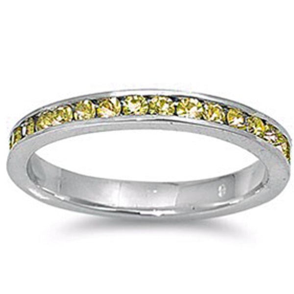 Yellow Cz Stackable Eternity Wedding Anniversary Band .925 Sterling Silver Ring Sizes 3-12