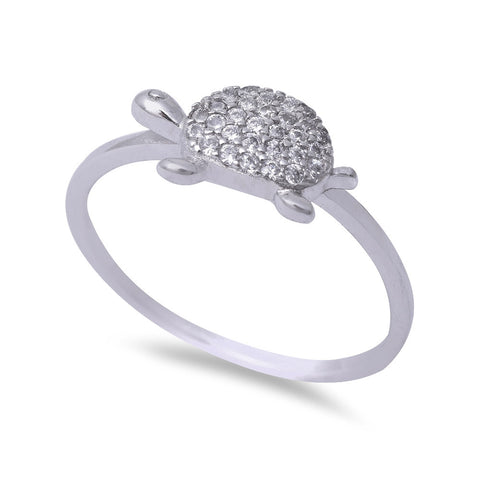 Micro Pave Cubic Zirconia Turtle .925 Sterling Silver Ring Sizes 5-9