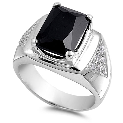 Men's Black Onyx & Cubic Zirconia .925 Sterling Silver Ring Sizes 8-15