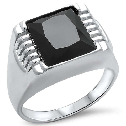 Men's Black Onyx  .925 Sterling Silver Ring Sizes 9-14
