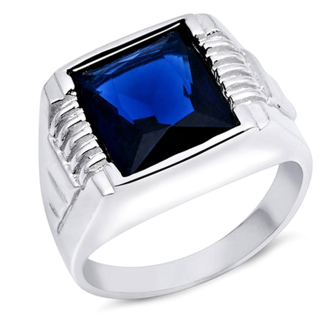 Men's Blue Sapphire .925 Sterling Silver Ring Sizes 9-14