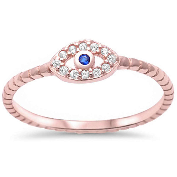 Rose Gold Plated Cubic Zirconia & Sapphire Evil Eye .925 Sterling Silver Ring Sizes 4-10