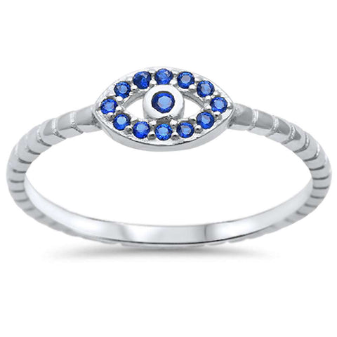 Blue Sapphire Evil Eye .925 Sterling Silver Ring Sizes 4-10