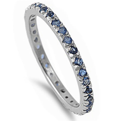 Stackable Sapphire Cubic Zirconia .925 Sterling Silver Eternity Band Sizes 2-12