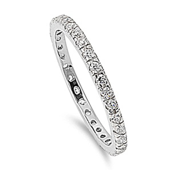 Stackable Cubic Zirconia .925 Sterling Silver Eternity Band 2-12