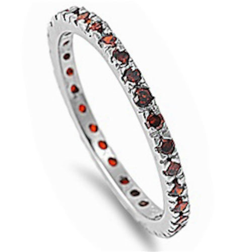 Stackable Garnet Cubic Zirconia .925 Sterling Silver Eternity Band Sizes 2-12