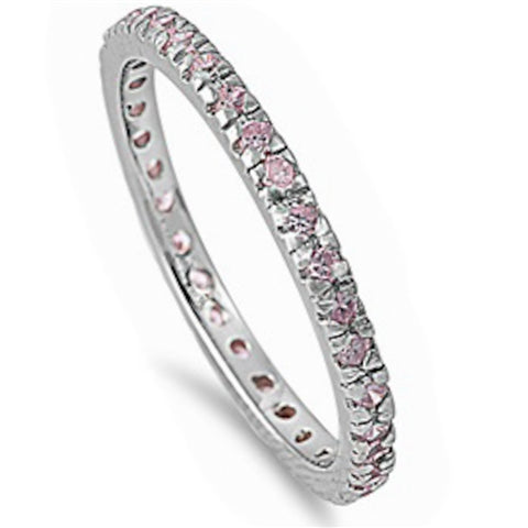 Beautiful Stackable Pink Cubic Zirconia Eternity Anniversary Band .925 Sterling Silver Sizes 3-11