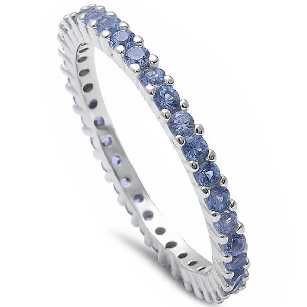 Stackable Aquamarine Cubic Zirconia .925 Sterling Silver Eternity Band Sizes 2-11