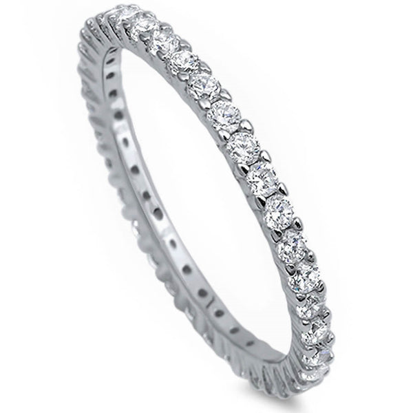 Stackable Cubic Zirconia .925 Sterling Silver Eternity Band Sizes 2-12