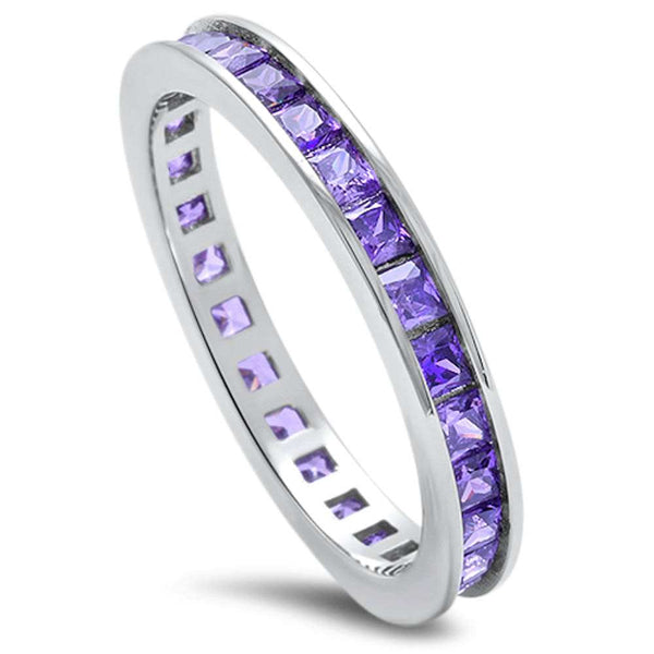 Princess Cut Amethyst .925 Sterling Silver Eternity Band Sizes 3-12