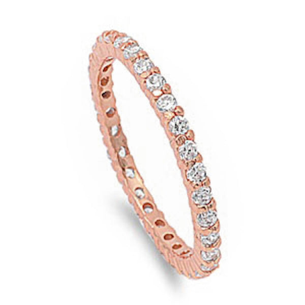 Rose Plated Stackable Cubic Zirconia .925 Sterling Silver Eternity Band