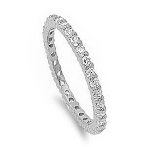 Stackable Cubic Zirconia .925 Sterling Silver Eternity Band Ring Sizes 3-12