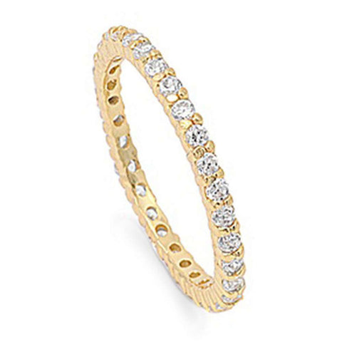 Gold Plated Stackable Cubic Zirconia .925 Sterling Silver Eternity Band 3-12