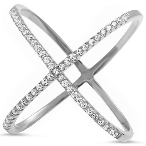 Cz Criss Cross .925 Sterling Silver Ring Sizes 4-12