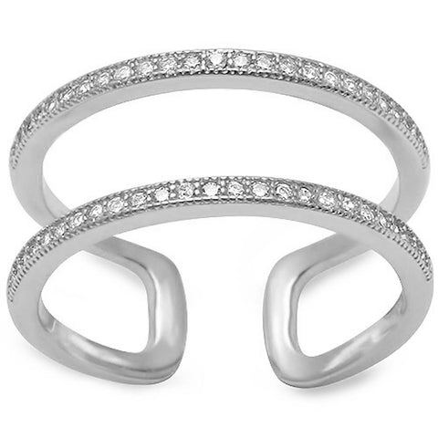 Double Band Cz .925 Sterling Silver Ring Sizes 4-11