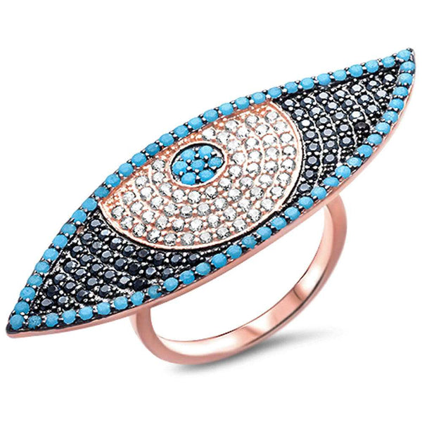 Rose Gold Plated Nano Turquoise, White Cz, & Black Cz Evil Eye .925 Sterling Silver Ring Sizes 6-9