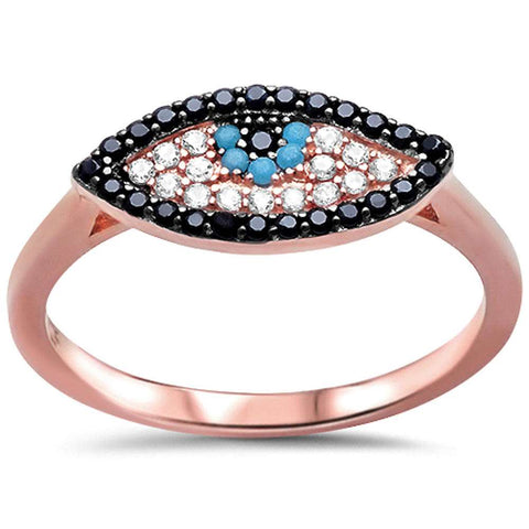 Rose Gold Plated Nano Turqiuoise, Black & White Cz Evil Eye .925 Sterling Silver Ring Sizes 5-10