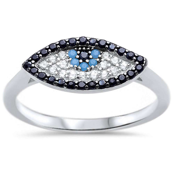 Yellow Plated Nano Turquoise CZ Evil eye .925 Sterling Silver Ring Sizes 5-10