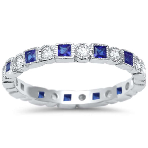 Antique Style Blue Sapphire & CZ Stackable Eternity Band .925 Sterling Silver Ring Sizes 4-10