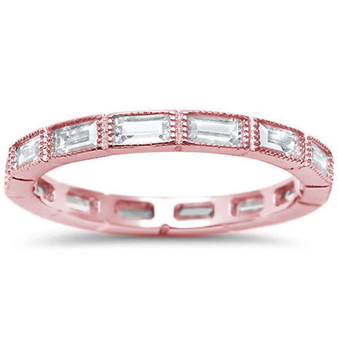 Rose Plated Antique CZ Eternity Stackable .925 Sterling Silver Band Sizes 5-10