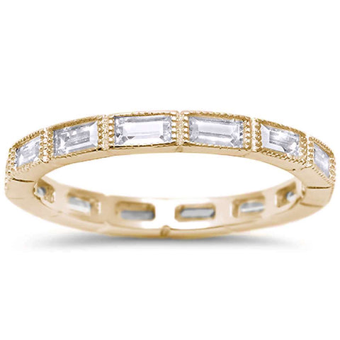 Yellow Plated Antique CZ Eternity Stackable .925 Sterling Silver Band Sizes 5-10