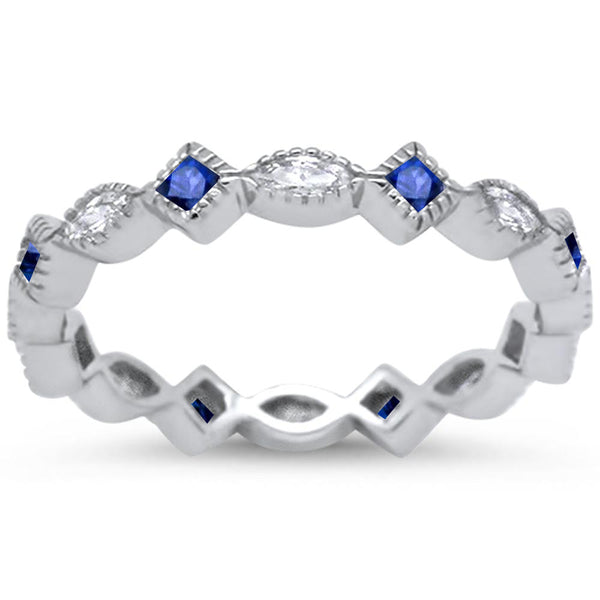 Antique Style Blue Sappire & Cz Eternity Band .925 Sterling Silver Ring Sizes 5-10