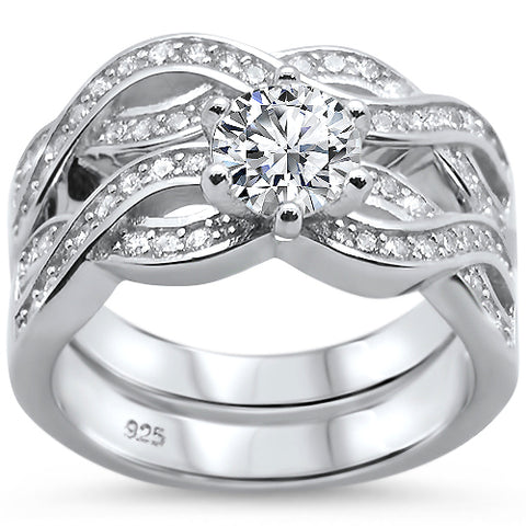 Round Infinity Twisted Band Engagement .925 Sterling Silver Ring Set Sizes 6-8