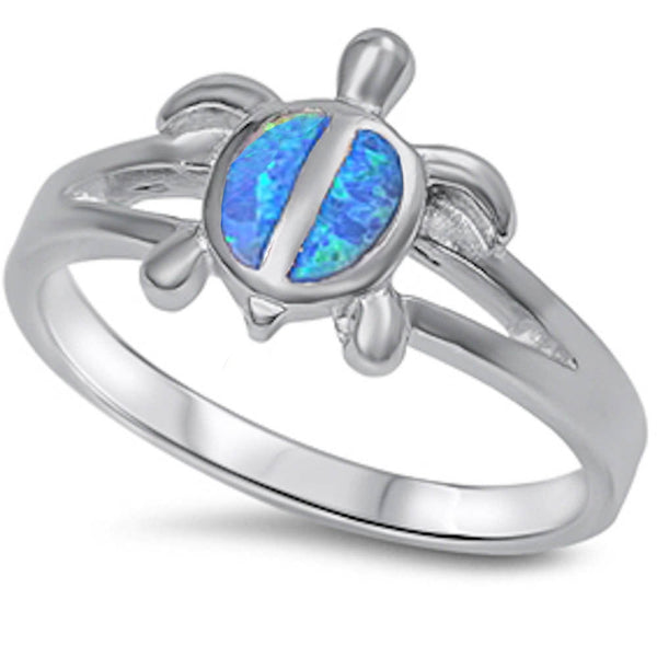 Fire Blue Opal turtle .925 Sterling Silver Ring Sizes 5-10