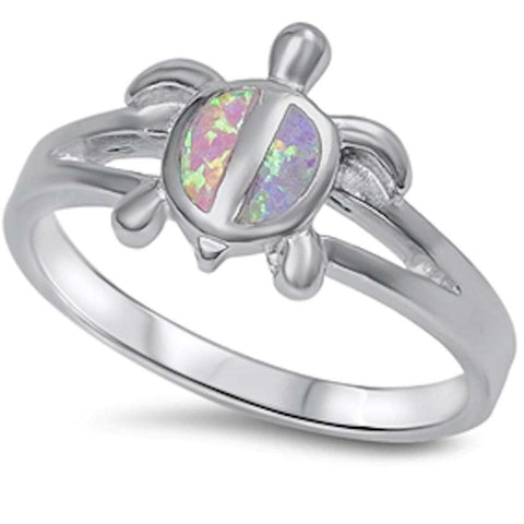 Fire Pink Opal Turtle .925 Sterling Silver Ring Sizes 5-10