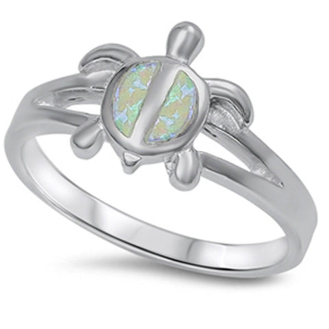 Fire White Opal turtle .925 Sterling Silver Ring Sizes 5-10