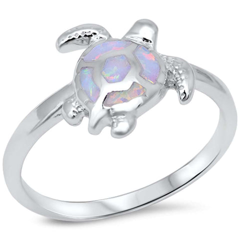 White Opal Turtle .925 Sterling Silver Ring sizes 4-10