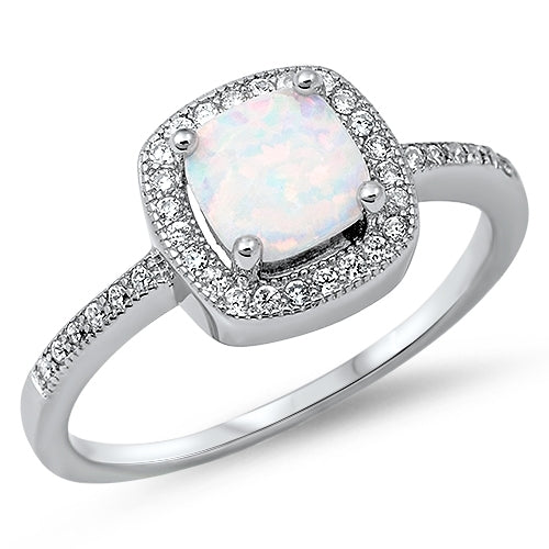 Princess cut White Opal & Cz Fashion Ring .925 Sterling Silver Sizes 3-13