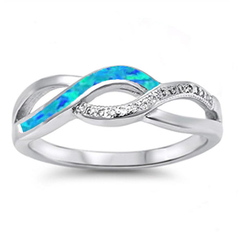 Blue Opal & Cz Infinity Style .925 Sterling Silver Ring Sizes 4-12